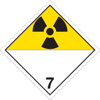 Radioactive materials Placard, Dangerous Goods class 7 Placard, radioactive yellow 7