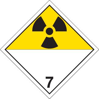Radioactive materials Placard, Dangerous Goods class 7 Placard, radioactive yellow 7