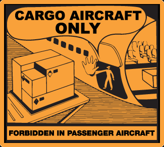 CAO label, cargo aircraft only label, forbidden on passenger aircraft label, orange handling label