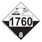 UN1760 placard BC, UN1760 placard Canada, 1760 placard, UN1760 label