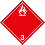 Flammable Liquid Placard, Dangerous Goods class 3 placard, red 3 hazmat diamond