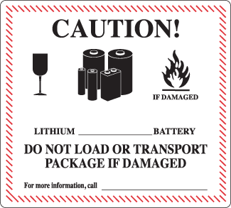 lithium battery handling label; lithium battery label, lithium ion battery label, lithium metal battery label