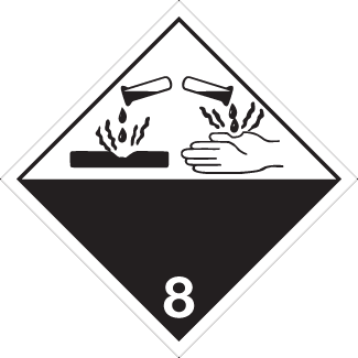 Corrosive Placard, Dangerous Goods class 8 Placard, black white 8 diamond