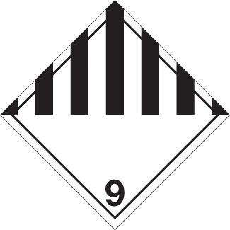 Miscellaneous Placard, Dangerous Goods class 9 Placard, black striped 9 diamond