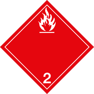 Flammable Gas placard, Dangerous Goods class 2.1 Placard, red 2 hazmat diamond