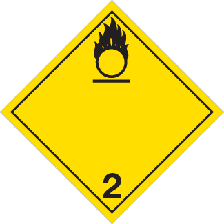 Oxidizing Gas Placard, Dangerous Goods class 2.2(5.1) placard, yellow 2 hazmat diamond, oxygen placard