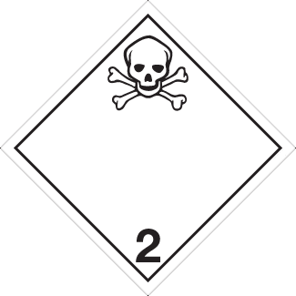 Toxic Gas placard, Dangerous Goods class 2.3 Placard, white 2 hazmat diamond, skull 2 placard