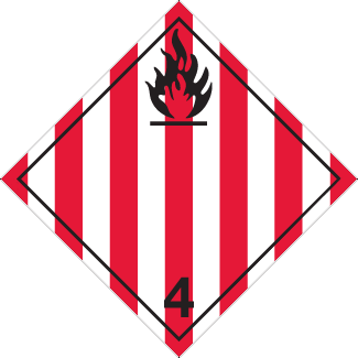 Flammable Solid Placard, Dangerous Goods class 4.1 Placard, red striped 4 flammable diamond