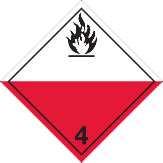 spontaneous combustion placard, Dangerous Goods class 4.2 Placard, red white 4 hazmat diamond