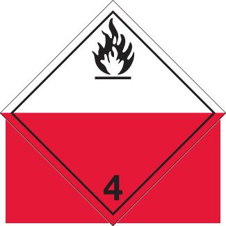spontaneous combustion placard, Dangerous Goods class 4.2 Placard, red white 4 hazmat diamond