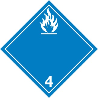 Dangerous when wet Placard, Dangerous Goods class 4.1 Placard, blue class 4 flammable diamond