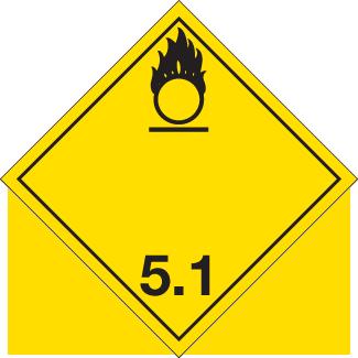 Oxidizer Placard, Dangerous Goods class 5.1 Placard, yellow class 5.1 hazmat diamond