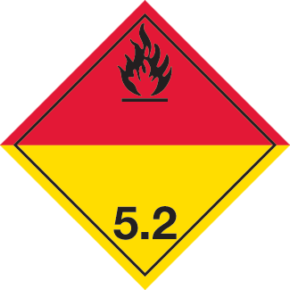 Organic Peroxide Placard, Dangerous Goods class 5.2 Placard, red yellow class 5.2 placard