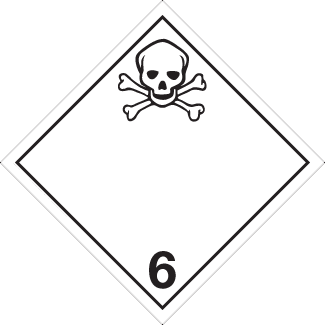 Toxic Placard, Dangerous Goods class 6.1 Placard, white class 6 diamond, skull 6 placard
