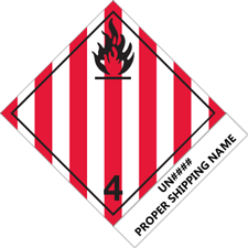 Class 4.1 Flammable Solid Tabbed Label