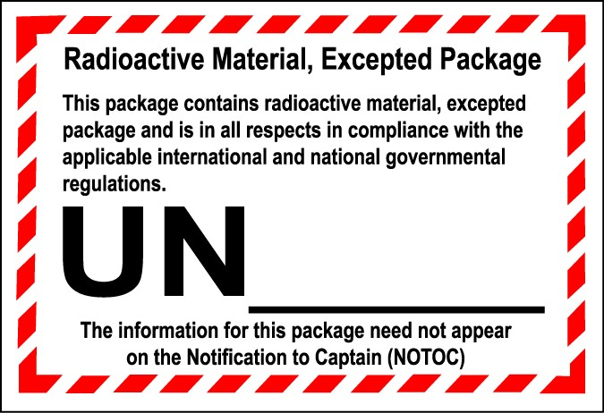 radioactive material excepted package label, radioactive excepted quantity label, radioactive UN2911 label, radioactive UN2910 label