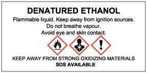 DENATURED ETHANOL WHMIS Supplier label, DENATURED ETHANOL WHMIS Workplace label