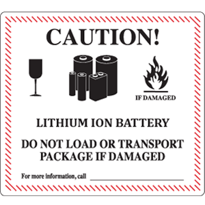 lithium battery label, UN3480 section II label