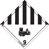 Dangerous Goods class 9 Placard, black striped 9 diamond