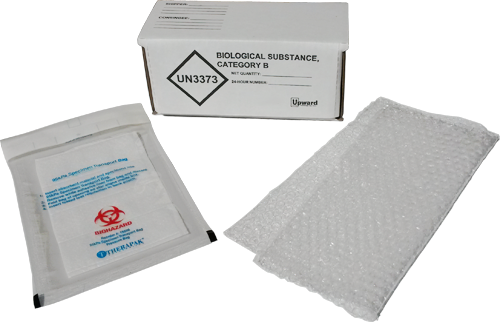 Category B packaging, Biological Packaging, UN3373 packaging, exempt specimen packaging, Category B shipping kit, Biological substance kit, IATA  approved UN3373 kit, IATA PI 650 packaging, exempt human specimen kit